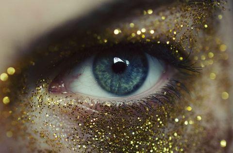 Eye, Iris, Close-up, Glitter, Eyebrow, Organ, Eyelash, Macro photography, Beauty, Skin,