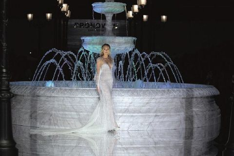 Fountain, Dress, Bridal clothing, Water feature, Gown, Bride, Wedding dress, Bridal party dress, Lavender, Aqua,