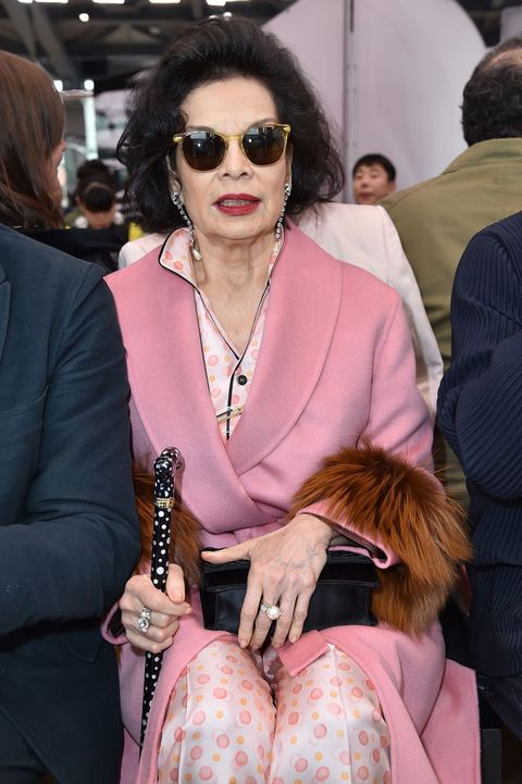 MILAN, ITALY - MAY 07:  Bianca Jagger (in Prada) while attending the Prada Resort 2018 Womenswear Show in Osservatorio on May 7, 2017 in Milan, Italy.  (Photo by Jacopo Raule/Getty Images for Prada)