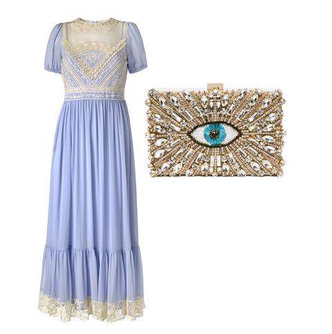 abito per matrimoniolungo con borsa clutch gioiello