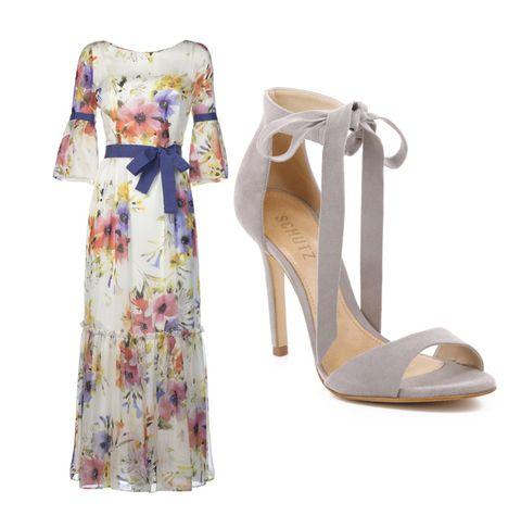 aefbdda3cdd5 vestito elegante per matrimonio a fiori con sandali in suède con tacco a  spillo
