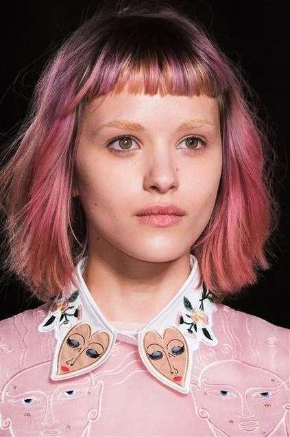 Hair, Face, Hairstyle, Eyebrow, Hair coloring, Chin, Pink, Cheek, Bangs, Forehead,