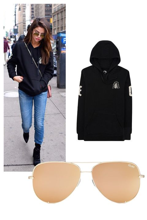 """<p>The Weekend Allure Fleece Pullover Hoodie, $78;&nbsp;<a href=""""https://www.theweeknd.com/store/allure-hoodie"""" target=""""_blank"""" data-tracking-id=""""recirc-text-link"""">theweeknd.com</a></p><p>Quay x Desi Perkins High Key Aviator Sunglasses, $65;&nbsp;<a href=""""http://shop.nordstrom.com/s/quay-australia-x-desi-perkins-high-key-62mm-aviator-sunglasses/4438883?origin=keywordsearch-personalizedsort&amp;fashioncolor=SILVER%2F%20SILVER"""" target=""""_blank"""" data-tracking-id=""""recirc-text-link"""">nordstrom.com</a></p>"""