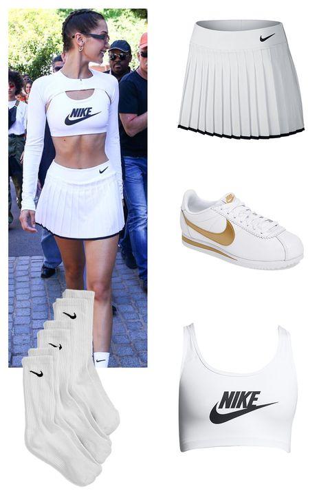 "<p>NikeCourt Victory Tennis Skirt, $45;&nbsp;<a href=""http://store.nike.com/us/en_us/pd/nikecourt-victory-womens-tennis-skirt/pid-11140210/pgid-11982577"" target=""_blank"" data-tracking-id=""recirc-text-link"">nike.com</a></p><p>Nike Classic Cortez Sneaker, $70;&nbsp;<a href=""http://shop.nordstrom.com/s/nike-classic-cortez-sneaker-women/3906806?origin=keywordsearch-personalizedsort&amp;fashioncolor=WHITE"" target=""_blank"" data-tracking-id=""recirc-text-link"">nordstrom.com</a></p><p>Nike Classic Swoosh Futura, $27; <a href=""https://store.nike.com/us/en_us/pd/classic-swoosh-futura-womens-medium-support-sports-bra/pid-11538507/pgid-11791546"" target=""_blank"" data-tracking-id=""recirc-text-link"">nike.com</a></p><p>Nike 3-Pack Crew Socks, $14;&nbsp;<a href=""http://shop.nordstrom.com/s/nike-3-pack-crew-socks-kids/3971087?origin=keywordsearch-personalizedsort&amp;fashioncolor=WHITE"" target=""_blank"" data-tracking-id=""recirc-text-link"">nordstrom.com</a></p>"