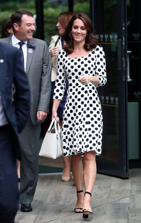 LONDON, UNITED KINGDOM - JULY 3:  Catherine, Duchess of Cambridge, Patron of the All England Lawn Tennis and Croquet Club (AELTC) with Philip Brook (left) on day one of the Wimbledon Championships at The All England Lawn Tennis and Croquet Club, in Wimbledon on July 3, 2017 in London, England.  (Photo by Gareth Fuller - WPA Pool/Getty Images)