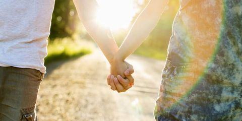 People in nature, Photograph, Holding hands, Light, Gesture, Hand, Sunlight, Interaction, Love, Tree,