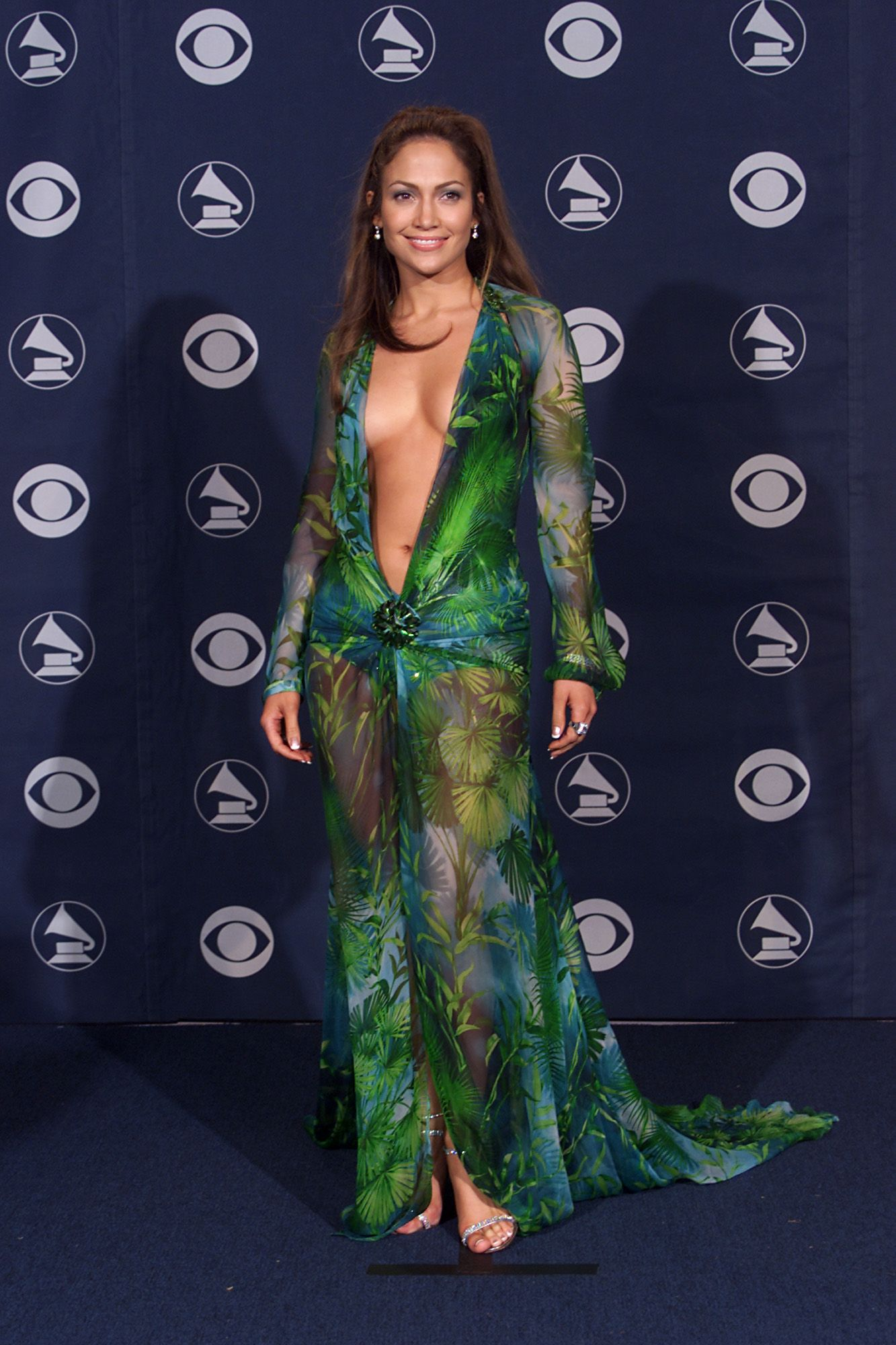 Vestito verde trasparente versace