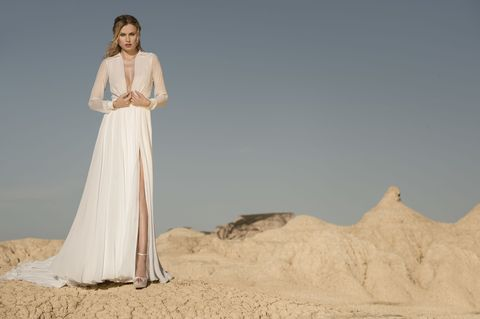 Dress, Clothing, Gown, Wedding dress, Bridal clothing, Fashion, Bridal party dress, Fashion model, Photo shoot, Formal wear,