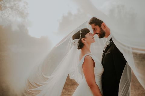 Photograph, Bridal veil, Veil, Wedding dress, Bride, Bridal accessory, Bridal clothing, Dress, Gown, Ceremony,