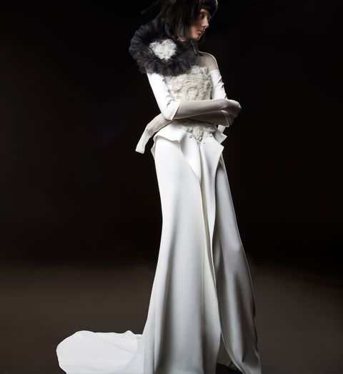Fashion model, Clothing, Gown, Dress, White, Shoulder, Fashion, Formal wear, Wedding dress, Haute couture,