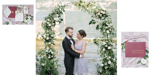 Photograph, White, Arch, Ceremony, Flower Arranging, Dress, Architecture, Wedding dress, Floral design, Wedding,