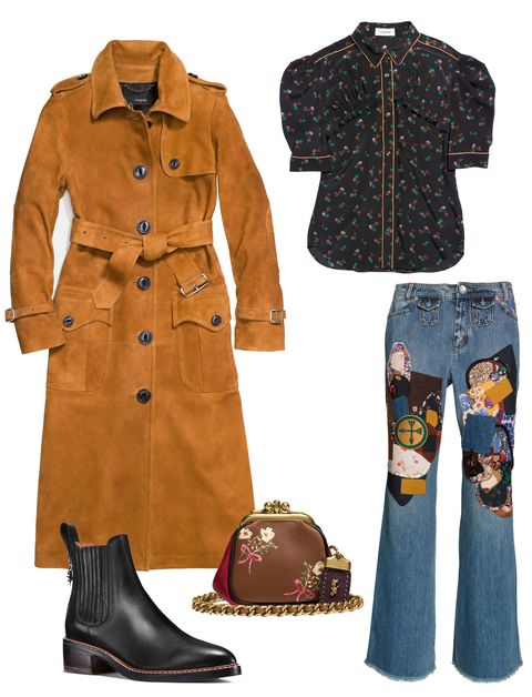 Clothing, Jeans, Outerwear, Footwear, Brown, Fashion, Denim, Coat, Sleeve, Trench coat,