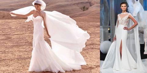 a4921373757b Uno dei must sposa 2018 che abbiamo visto sfilare sulle passerelle  internazionali è la mantella. Impalpabile e dall effetto molto  scenografico. L abito da ...