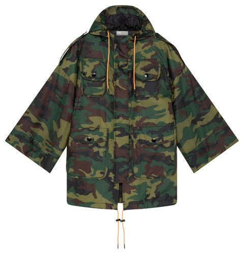 Clothing, Military camouflage, Outerwear, Camouflage, Jacket, Sleeve, Hood, Raincoat, Pattern, Parka,