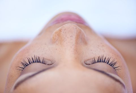 Eyelash, Eyebrow, Face, Skin, Eye, Nose, Close-up, Eyelash extensions, Beauty, Purple,