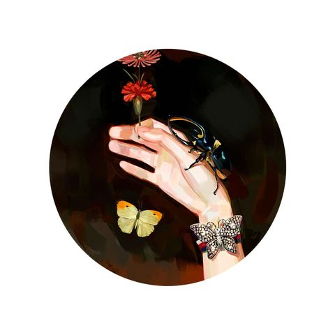 Hand, Finger, Flower, Black hair, Nail, Photography, Plant, Circle, Fashion accessory, Gesture,
