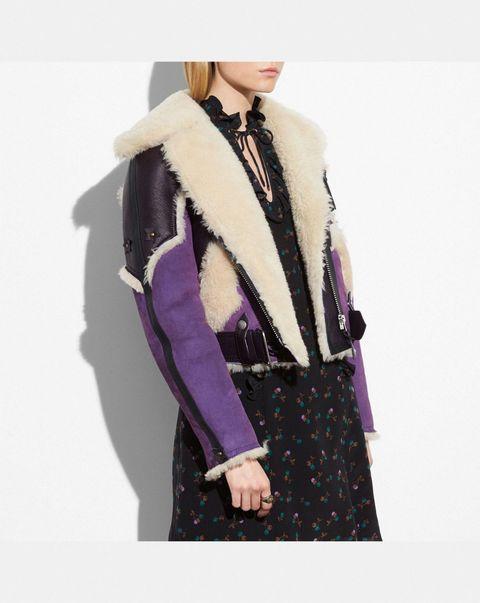 Clothing, Purple, Outerwear, Fur, Fashion, Violet, Magenta, Scarf, Dress, Neck,