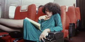 Diane Von Furstenberg on an aeroplane in USA, JFK