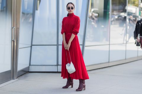 Red, Clothing, Street fashion, Fashion, Dress, Maroon, Pink, Shoulder, Outerwear, Haute couture,
