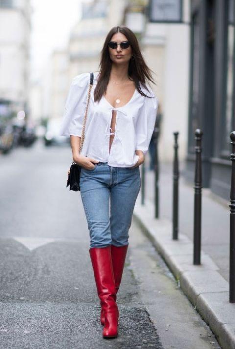 Jeans, Clothing, White, Street fashion, Denim, Red, Waist, Fashion, Footwear, Pink,