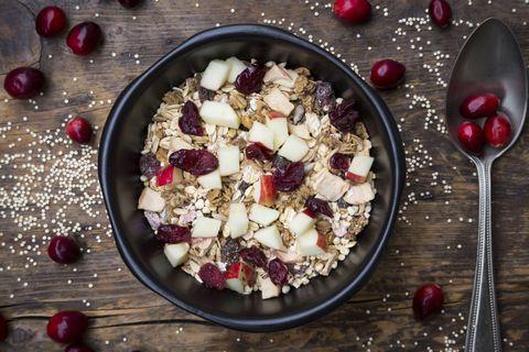 Dish, Food, Cuisine, Ingredient, Breakfast cereal, Cranberry, Vegetarian food, Produce, Breakfast, Oatmeal,