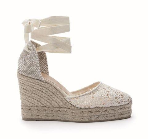Footwear, Shoe, Beige, Sandal, Wedge, Mary jane, Espadrille, High heels, Slingback,