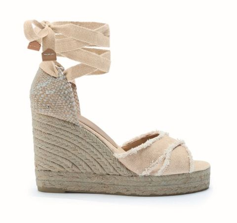 Footwear, Shoe, Beige, Sandal, Wedge, High heels, Espadrille,