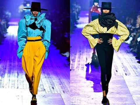 Fashion model, Fashion, Runway, Yellow, Purple, Haute couture, Electric blue, Fashion design, Fashion show, Event,