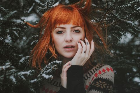 Hair, Face, Red, Red hair, Beauty, Head, Lip, Tree, Hairstyle, Eye,