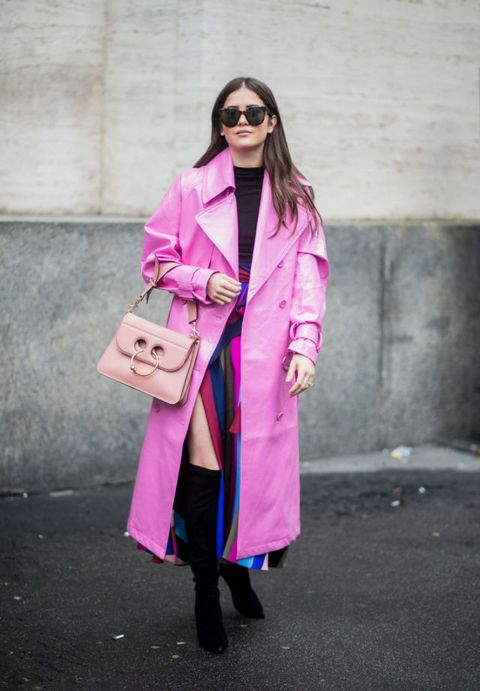 Clothing, Pink, Street fashion, Trench coat, Coat, Fashion, Magenta, Outerwear, Overcoat, Footwear,