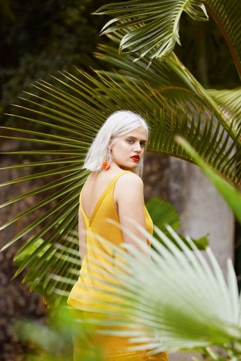 People in nature, Green, Beauty, Dress, Yellow, Tree, Photography, Photo shoot, Sunlight, Model,