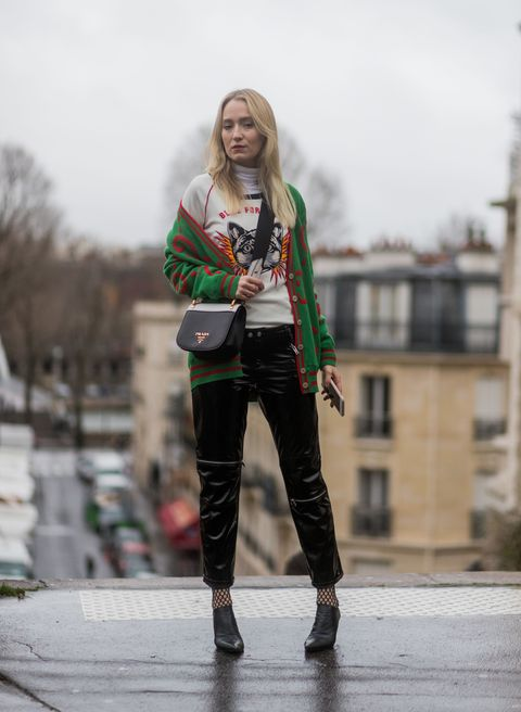 PARIS, FRANCE - MARCH 01:  Juliane Diesner wearing a Gucci cardigan, Prada bag outside Rochas on March 1, 2017 in Paris, France. (Photo by Christian Vierig/Getty Images)