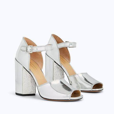 Footwear, High heels, White, Shoe, Sandal, Beige, Slingback, Leg, Court shoe, Wedge,