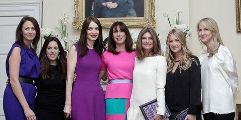 <p>Caroline Rush, Mary Katrantzou, Roksanda Ilincic, Samantha Cameron, Natalie Massanet and Anya Hindmarch at the Downing Street reception</p>