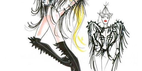 <p>One of Giorgio Armani's sketches for Lady Gaga's tour costumes</p>