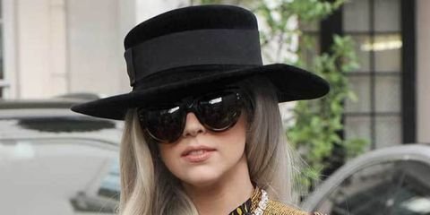 <p>Lady Gaga in a Burberry outfit</p>