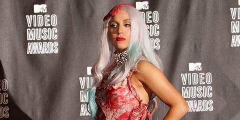 <p>Lady Gaga in meat derss</p>
