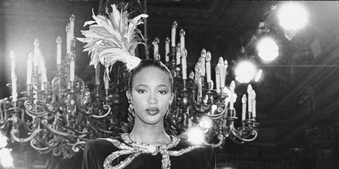 <p>Naomi Campbell on the YSL catwalk in 1989</p>