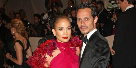<p>Jennife Lopez and Marc Anthony at the Met Ball</p>