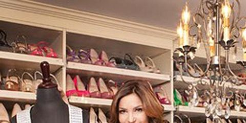 <p>Beth Shak with some of her shoes</p>