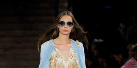 <p>The models, plaits at the front of the hair, stormed the runway in metallic jeans, studded waistcoats and trailing chiffon pieces. All the hallmarks of a summer of love were there - dream catcher-like lacing, Navajo leather fringing, Mongolian hair jac
