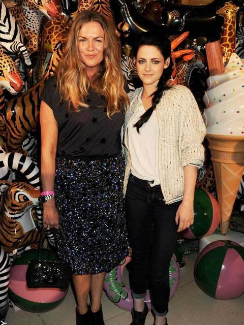 <p>Mulberry designer Emma Hill with Kristen Stewart at the brand's party last night.</p>