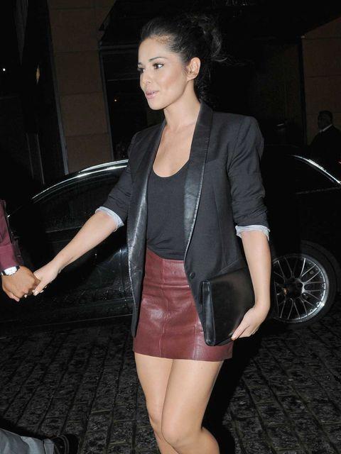 <p>Cheryl Cole wears double leather</p>