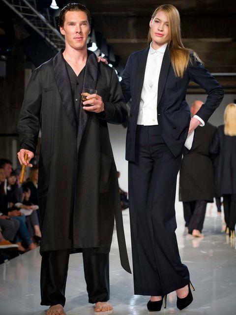 <p>Benedict Cumberbatch on the Spencer Hart catwalk</p>