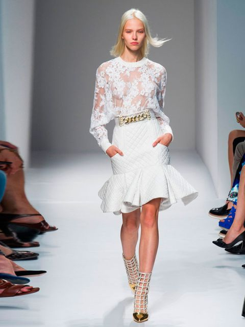"""<p><strong>Sasha Luss</strong> at <a href=""""http://louisvuittonshop.info/catwalk/designer-a-z/balmain/"""">Balmain</a>.</p><p>'For me, the face of SS14. The newly super-blonde Russian beauty walked every show that mattered. And whatta walk she has!' </p>"""