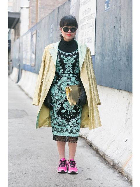 <p>Natalie Joos wears a vintage Balenciaga coat, Nicholas top, Samuji skirt, Chloe bag, Le Flu Flu socks, and Prada shoes. </p>