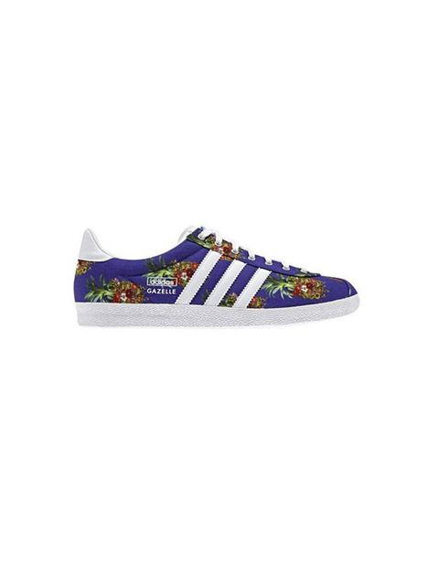 "<p>No self-respecting trainer aficionado would be without these colourful printed kicks. </p><p><a href=""http://www.adidas.co.uk/gazelle-og-shoes/D67721_530.html"">Adidas x Farm Company</a> trainers, £67</p>"