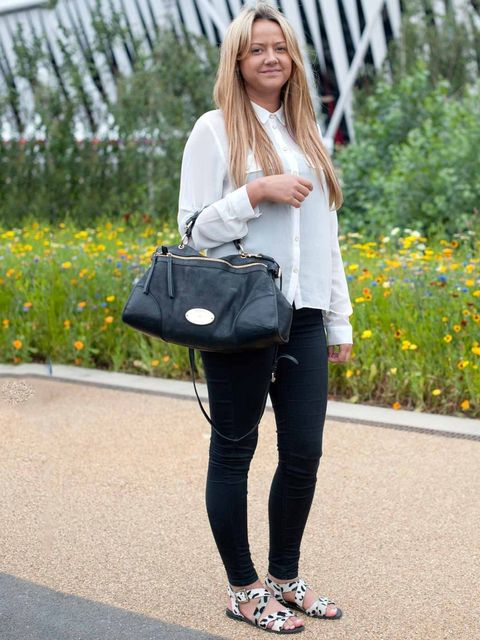 <p>Emma Warner, 23, Office Manager.Topshop shirt and leggings, Urban Outfitters shoes, Mulberry bag.</p>