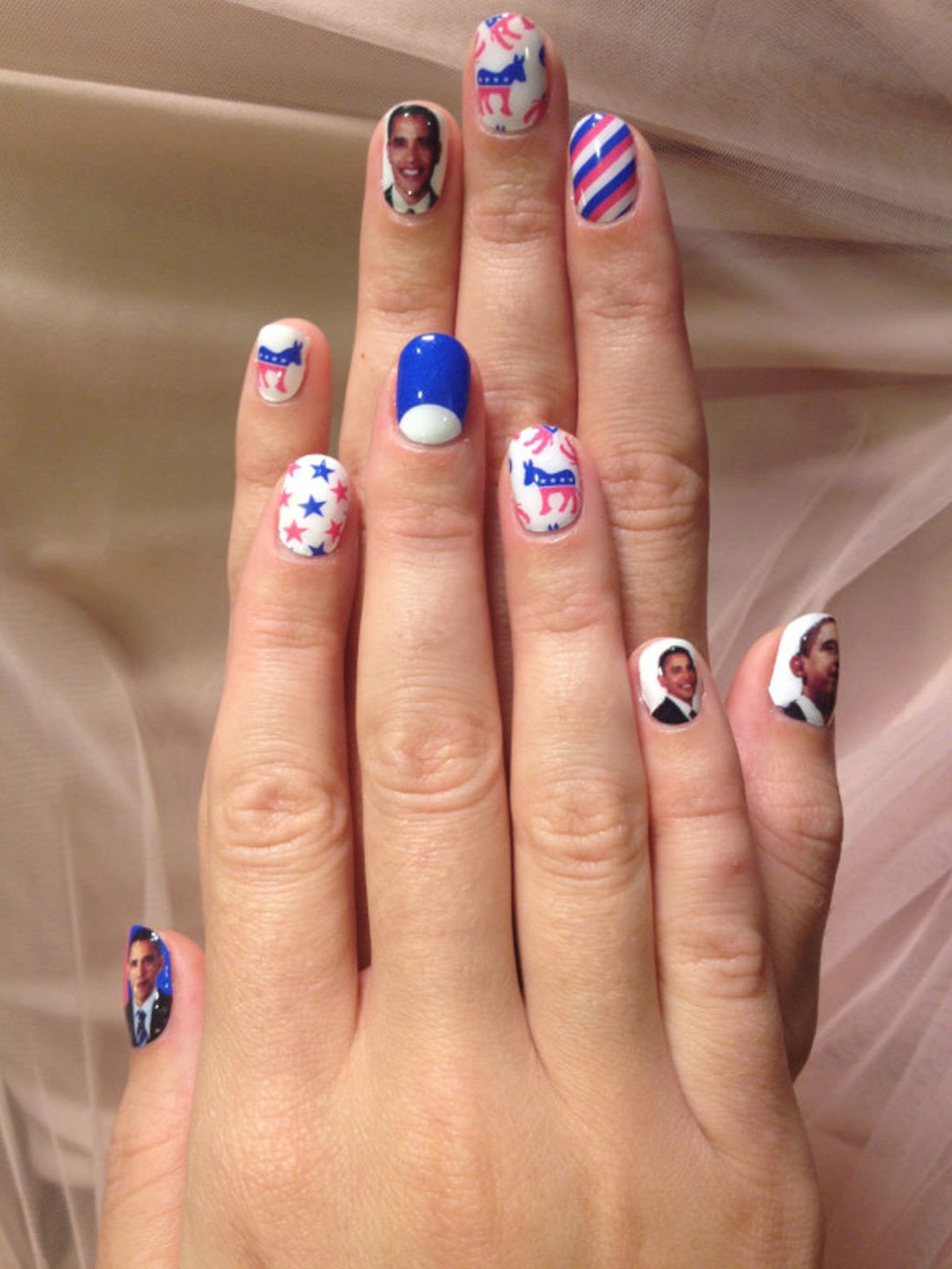 Katy Perrys Barack Obama And Stars And Stripes Nail Art Manicure In