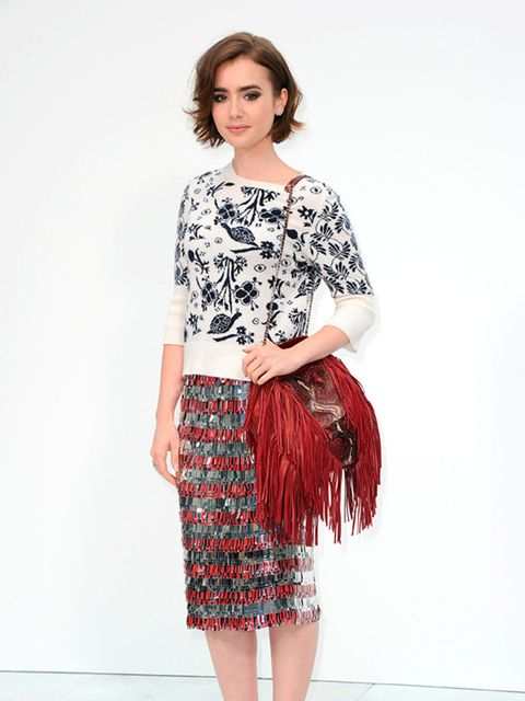 38017157ba44f Lily Collins wearing Chanel at the Chanel Haute Couture Fall Winter 2014  show for Paris Fashion